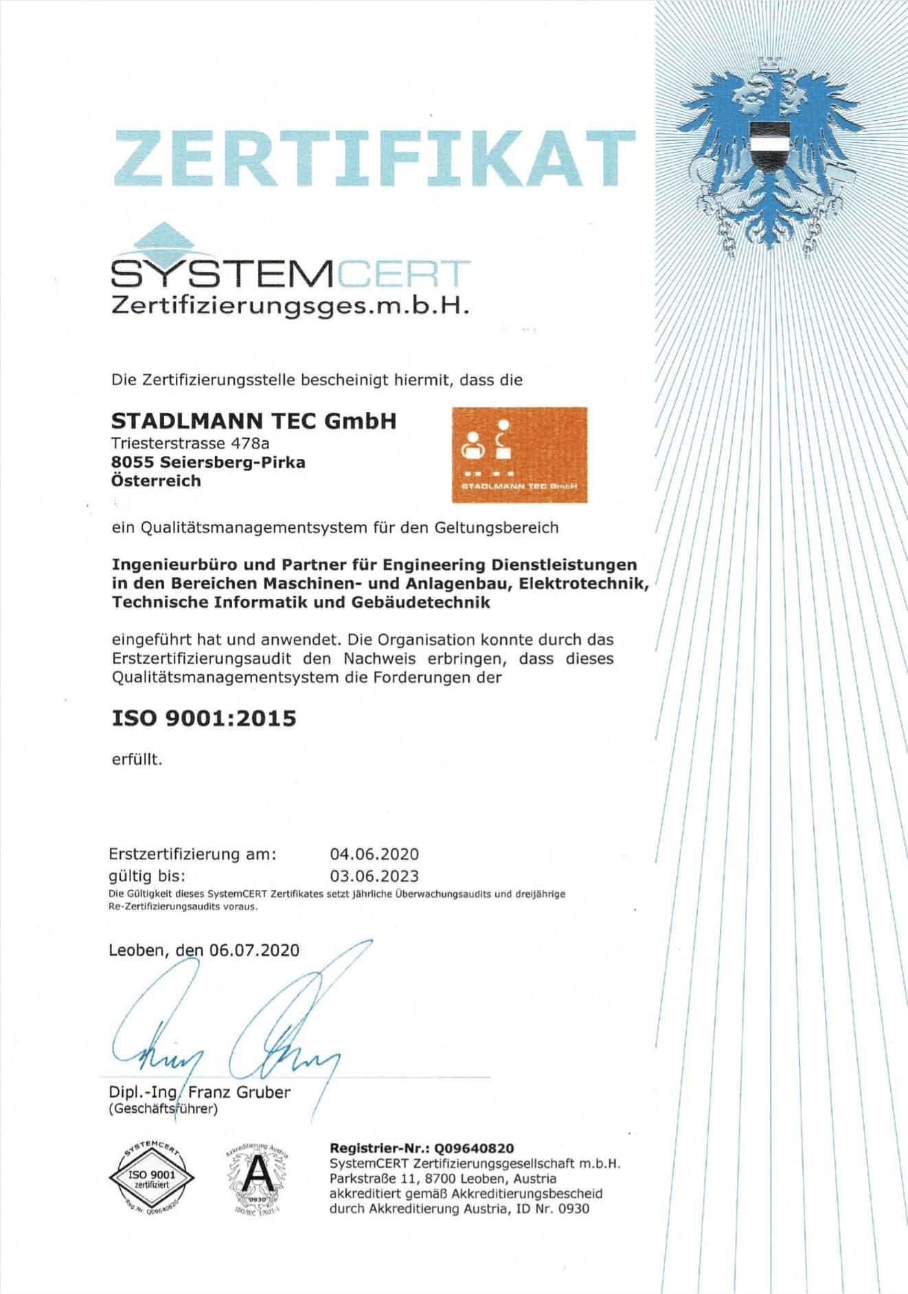 ISO 9001:2015 ZERTIFIZIERUNG